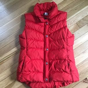 Red J Crew Puffer vest.  Perfect for Fall!